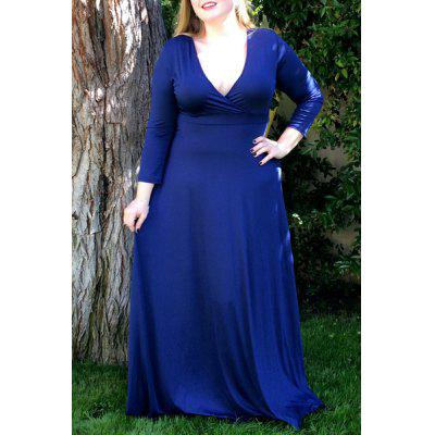 Plus Size Low Cut Prom Dress with Sleeves - $18.55 Free Shipping ...
