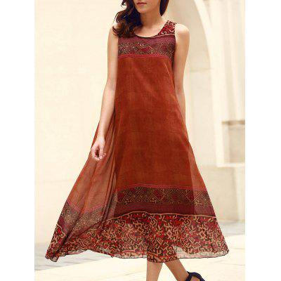 Bohemian Scoop Neck Sleeveless Loose-Fitting Printed Women's Dress