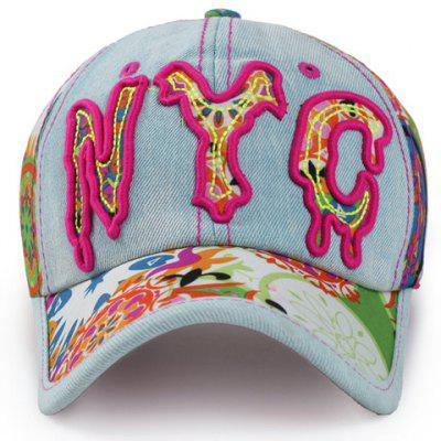 Chic Melting Letter Shape Embroidery Jeans Baseball Cap For Women