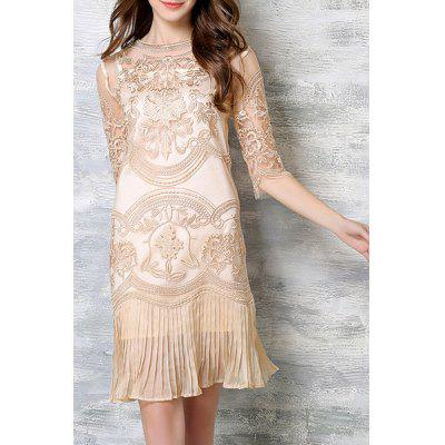 Chic Spaghetti Strap Solid Color Tank Top + 3/4 Sleeve Embroidered Pleated Dress Women's Twinset