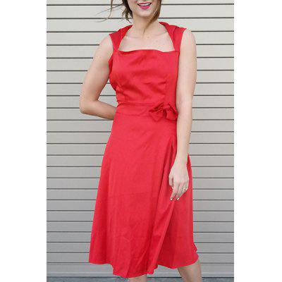 Vintage Turn-Down Collar Sleeveless Solid Color Bowknot Embellished Women's Dress