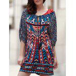 Vintage V Neck 3/4 Sleeves Printed Women's Dress - CADETBLUE