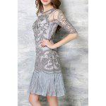 Buy Chic Spaghetti Strap Solid Color Tank Top + 3/4 Sleeve Embroidered Pleated Dress Women's Twinset M LIGHT GRAY