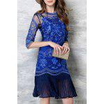 Buy Chic Spaghetti Strap Solid Color Tank Top + 3/4 Sleeve Embroidered Pleated Dress Women's Twinset S SAPPHIRE BLUE