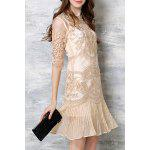 Buy Chic Spaghetti Strap Solid Color Tank Top + 3/4 Sleeve Embroidered Pleated Dress Women's Twinset S APRICOT