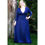 Plus Size Low Cut Prom Dress with Sleeves - BLUE