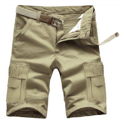 Loose Fit Summer Pockets Solid Color Cargo Shorts For Men