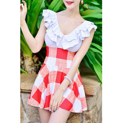 Stylish Plunging Neck High Waist Checked Swimwear For Women