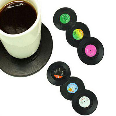 6PCS Kitchen Supplies Nonslip Heat Insulation Retro CD Shape Cup Mat