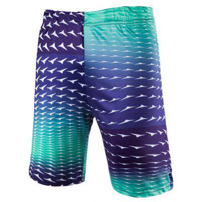 Straight Leg Gradient Color Elastic Waist Men's Swimming Trunks