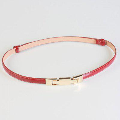 Chic Metal Hasp Adjustable PU Slender Belt For Women