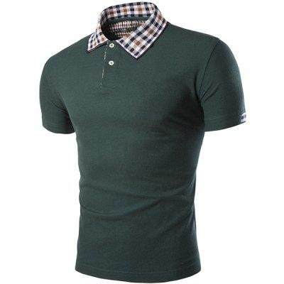 Color Block Plaid Spliced Turn-down Collar Shorts Sleeves Polo T-Shirt For Men