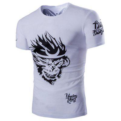 Round Neck Monkey Pattern Short Sleeve Men's T-Shirt