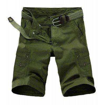 Loose Fit Summer Pocket Solid Color Cargo Shorts For Men