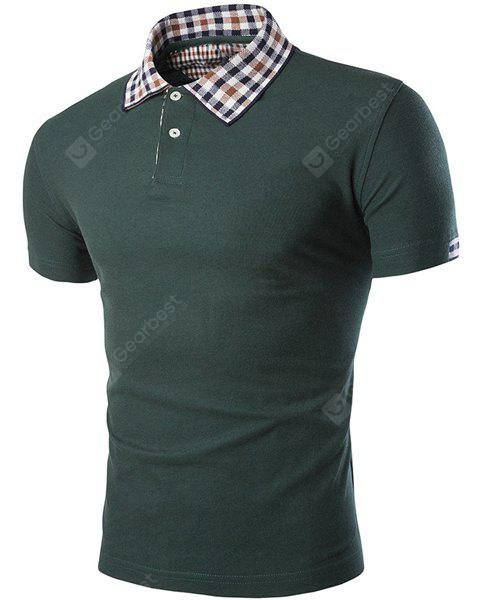 Color Block Plaid impiombato Turn-down Collar Short Sleeves Polo T-shirt per gli uomini