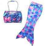 Stylish Halter Crop Top + Mermaid Design Cover Up Girl's Swimsuit - MULTICOLORE