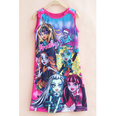 Stylish Monster High Pattern Sleeveless Girl's Dress