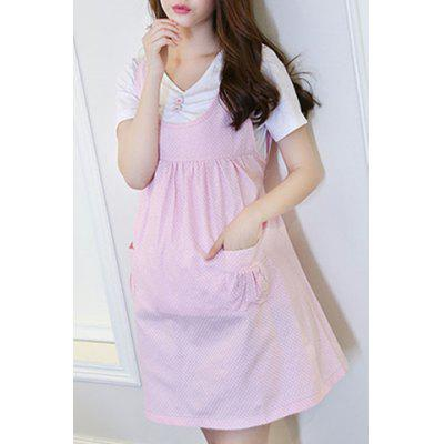 Sweet Scoop Collar Polka Dot Two Button Pregnant Dress + Pure Color Tee Twinset For Women