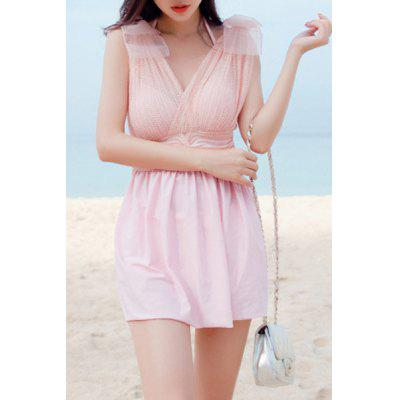 Chic V-Neck Solid Color Two Piece Swimsuit For Women