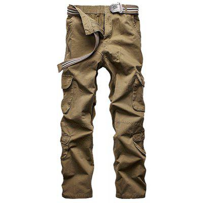 Loose Fit Straight Leg Multi-Pocket Solid Color Zipper Fly Cargo Pants For Men