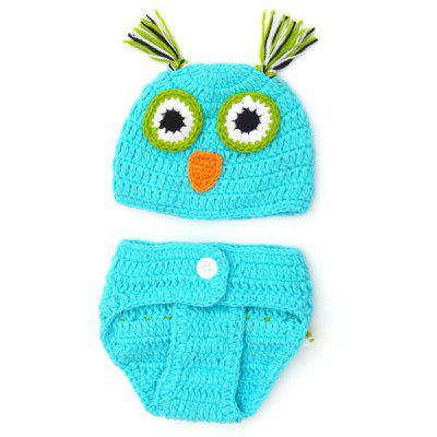 Chic Quality Newborn Wool Knitting Owl Design Baby Costume Hat + Shorts Suits