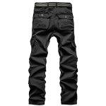 Loose Fit Straight Leg Multi-Pocket Solid Color Zipper Fly Cargo Pants For Men - BLACK