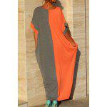 Buy Stylish Round Neck Bat-Wing Sleeve Loose Color Block Women's Dress XL ORANGEPINK
