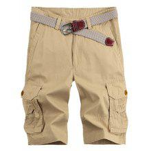 3aee544f29 Solid Color Stereo Patch Pocket Straight Leg Zipper Fly Cargo Shorts For Men