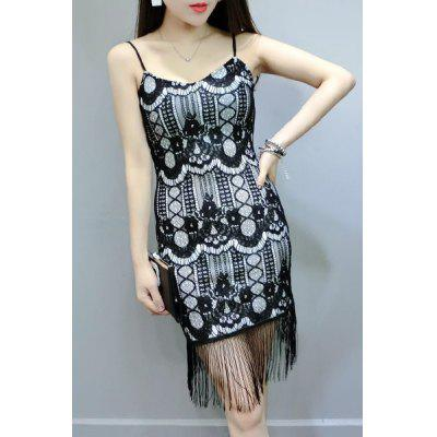 Fashionable Spaghetti Strap Fringe Print Dress For Women