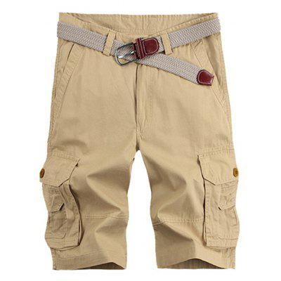 Solid Color Stereo Pocket Patch perna reta Zipper carga Shorts para homens