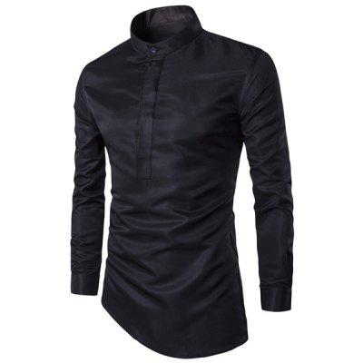 Stand Chinese Collar Solid Color Irregular Hem Long Sleeve Men's Shirt