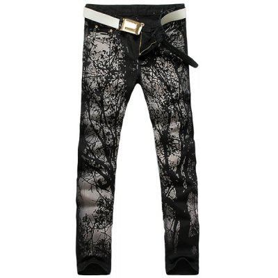 Casual Zip Fly Printing Straight Legs Denim Pants For Men