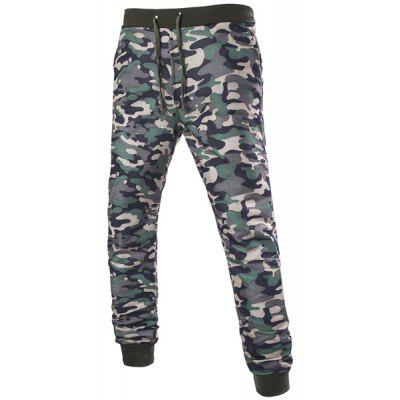 Beam Feet Camo Print Rib Splicing Drawstring Men's Pants
