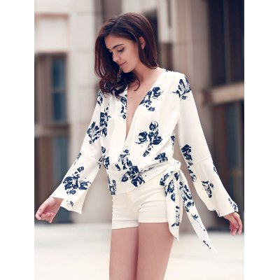 Alluring Plunging Neckline Flare Sleeve Floral Print T-Shirt For Women