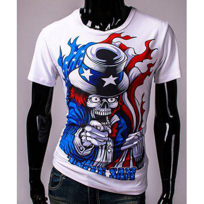 3D Clown Devil Print Round Neck Short Sleeves T-Shirt For Men