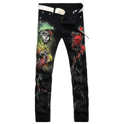 Casual Zip Fly Skull Printing Straight Legs Denim Pants For Men