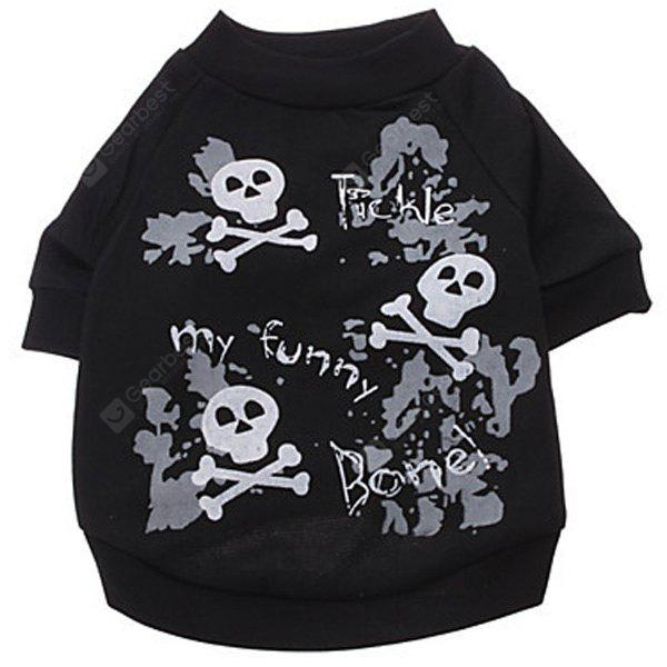 Fashion Pet Supplies Skull and Letter Pattern T-Shirt Black Puppy Clothing