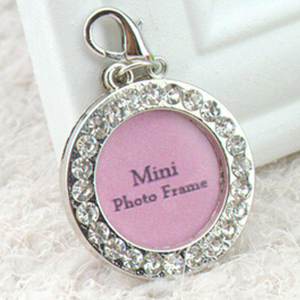 Exquisite Rhinestone Decor Round Type Dog ID Tag Photo Frame