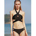 cheap Halter Criss Cross Cut Out Bikini Set