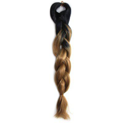 Outstanding Long Heat Resistant Fiber Capless Black Brown Ombre Braided Hair Extension For Women