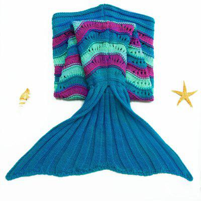 Stylish Sea Wave Pattern Mermaid Shape Kid's Knitted Blanket