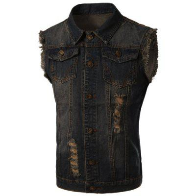 Trendy Turn-Down Collar Bleach Wash Ripped Design Sleeveless Men's Denim Waistcoat