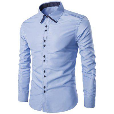 Turn-Down Collar Color Block Splicing Suture Line Design Long Sleeve Men's Shirt