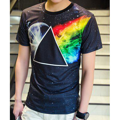 Buy COLORMIX 3D Space and Geometric Print Round Neck Short Sleeve T-Shirt For Men for $14.90 in GearBest store