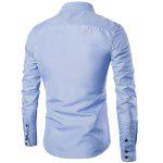 Buy Turn-Down Collar Color Block Splicing Suture Line Design Long Sleeve Men's Shirt 3XL LIGHT BLUE