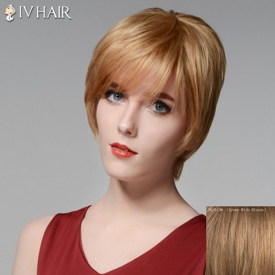 Siv Hair Noble Short Layered Capless Stylish Side Bang Straight Human Hair Wig