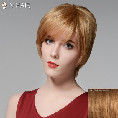 Short Layered Siv Hair Capless Side Bang Straight Human Hair Wig