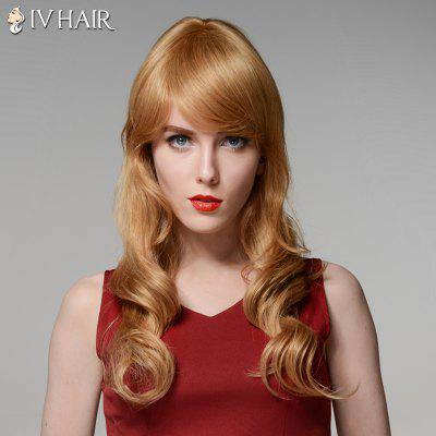 Side Bang Capless Siv Hair Long Fluffy Wavy Human Hair Wig