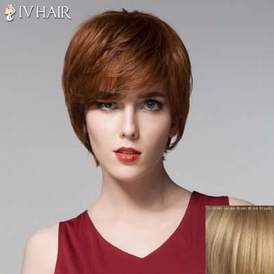 Noble Side Bang Capless Fashion Short Siv Hair Straight Human Hair Wig For Women