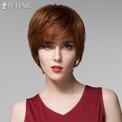 Side Bang Capless Short Siv Hair Straight Human Hair Wig